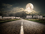 Highway to district under the moon