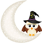 Halloween owl on the moon