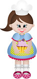 Little girl cook with cupcake
