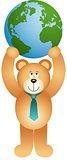Teddy bear holding globe