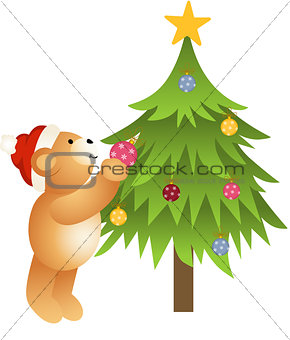 Teddy bear placing glass balls in Christmas tree