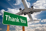 Thank You Green Road Sign and Airplane Above