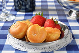 Cream puffs and strawberries