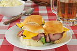Roast beef sliders and beer