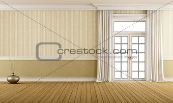 Classic empty room with closed window