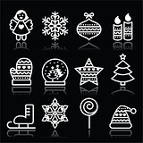 Christmas white icons with stroke on black