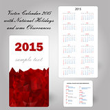 usa red calendar card 2015