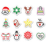Christmas, winter icons set - Santa Claus, snowman