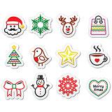 Christmas, winter icons set - Santa Claus, snowman