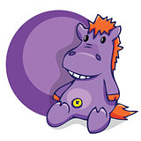 illustration. Soft fun toy smiling hippo