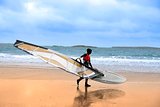 lone wild Atlantic way windsurfer getting ready to surf