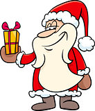 santa with gift cartoon illustration
