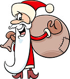 santa with sack cartoon illustration
