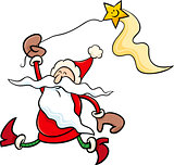 santa with star cartoon illustration