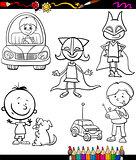 children set cartoon coloring page