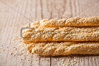 bread sticks grissini with sesame seeds