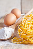 tagliatelli, flour and eggs
