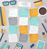Calendar vector template 2015 with