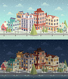 Christmas vintage cityscape and snowfall.