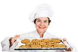 Baker with Tray of Cookies