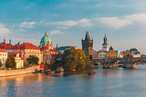 Charles Bridge in Prague (Czech Republic) at evening