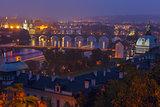 Aerial view over the bridges on the Vltava River in Prague, Czec