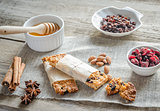 Homemade granola bars on the sackcloth
