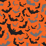 bat seamless dark and orange autumn halloween pattern eps10