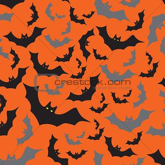 bat seamless dark and orange autumn halloween pattern eps10