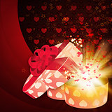 Card with heart shaped box