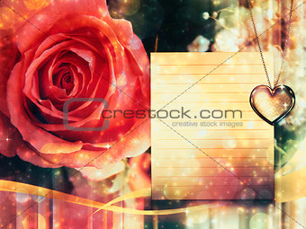 Card with rose and pendant