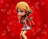 Cupid girl on red background