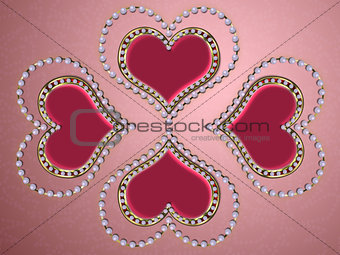 Four hearts of pearls