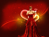 Girl in red dress blow heart