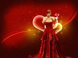 Girl in red dress blow heart