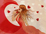 Girl in red dress with hearts