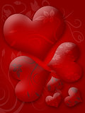Glossy hearts background