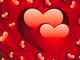 Glossy red hearts background