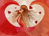 Grunge girl in red dress