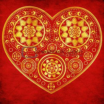 Grunge gold ornamental heart