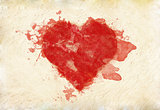 Grunge heart on paper