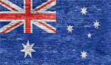 Australian flag over wall