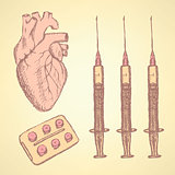 Sketch syringe, pills, human heart, background