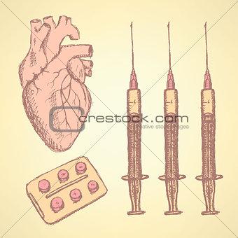 Sketch syringe, pills, human heart, background