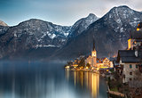 Dusk at Lake Hallstatt, Salzkammergut, Austrian Alps