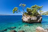 Croatian beach at a sunny day, Brela, Croatia
