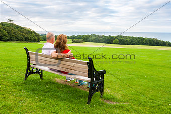Adult couple on the bench