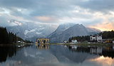 Reflection at Lago di Misurina at dawn, Dolomites, Italian Alps