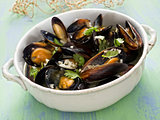 rustic black mussel in garlic white wine sauce