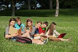 Cheerful Students Doing Homework